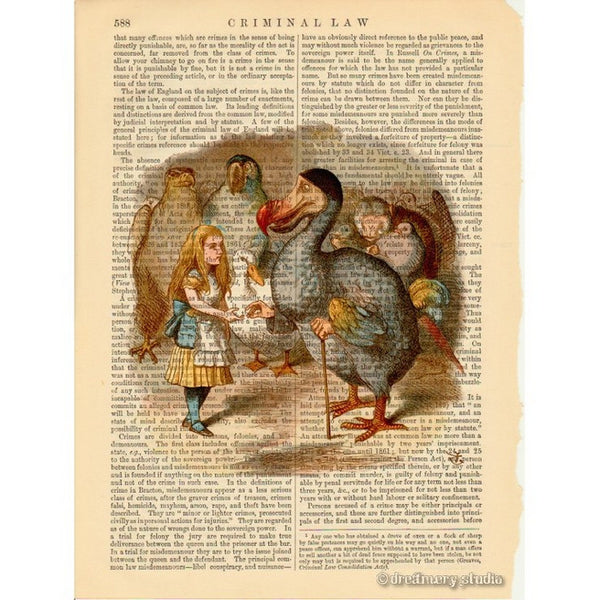 Alice in Wonderland Color Art Print, Dodo Bird Presenting Thimble