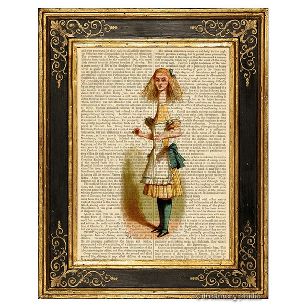 Alice in Wonderland Color Art Print, Long Neck