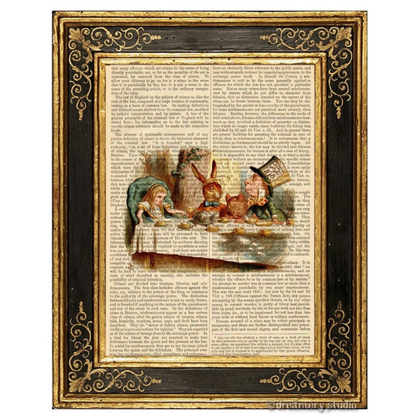 Alice in Wonderland Color Art Print, Mad Tea Party #1