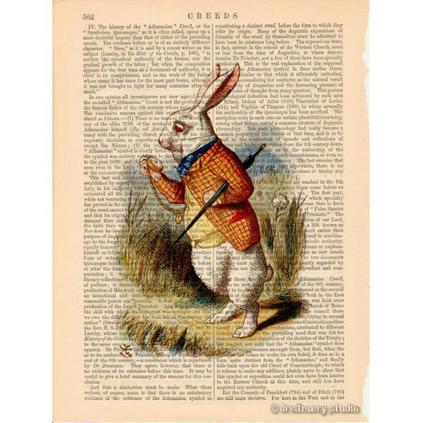 Alice in Wonderland Color Art Print, White Rabbit in Hurry