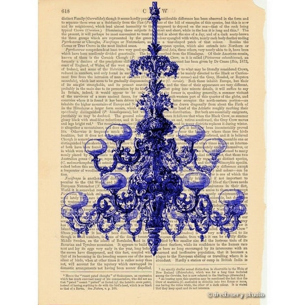Blue Chandelier Art Print