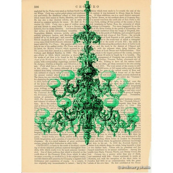 Green Chandelier Art Print