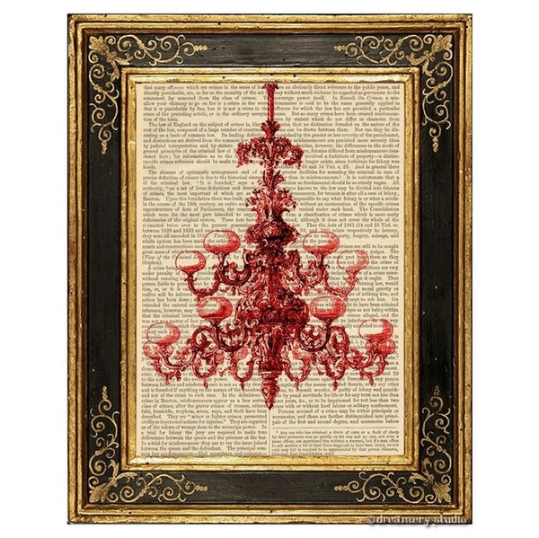 Red Chandelier Art Print