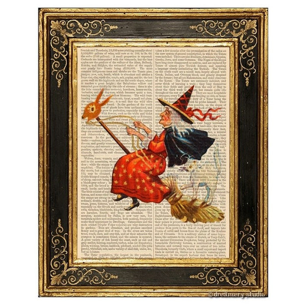 Witch and Cat on Doe Head Flying Broomstick Art Print, Halloween3