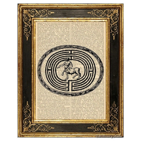 Minotaur in Labyrinth Art Print
