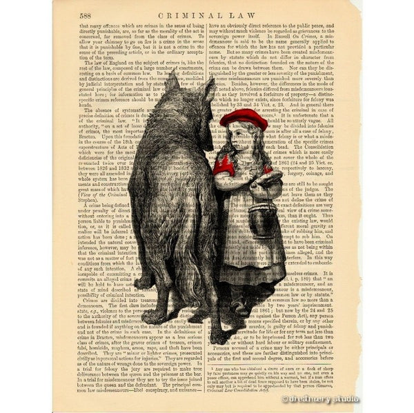 Red Riding Hood Amp Big Bad Wolf Art Print Dreamery Studio