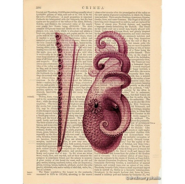 Plum Octopus #12 Art Print