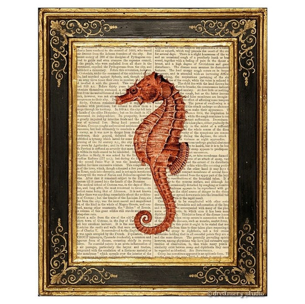 Red Seahorse Art Print