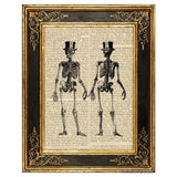 Full Body Skeleton with Top Hat Art Print