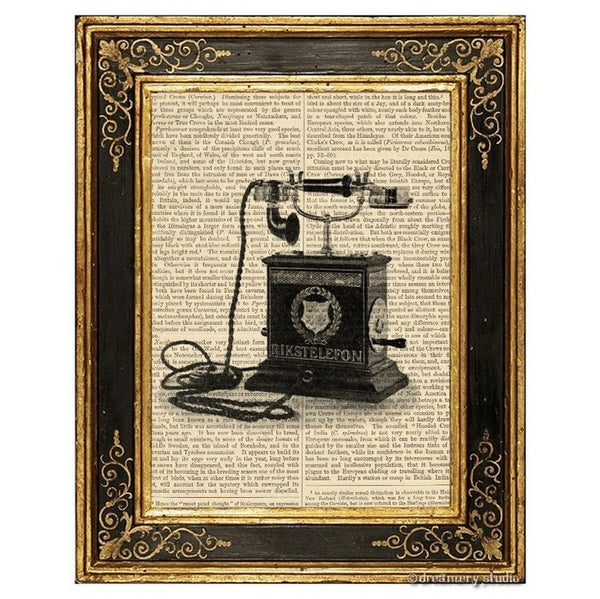 Telephone with Hand Crank Art Print