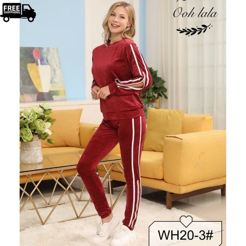 Winter Soft Fleece Pajama Set Lounge Wear