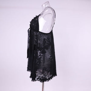 Ruffle Lace Design See through Floral Mesh Short Nighty