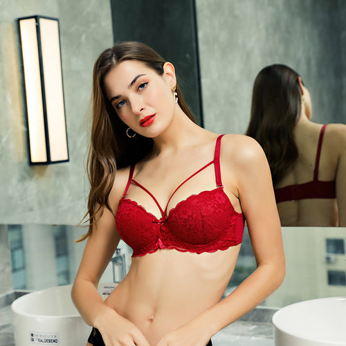 Floral Sheer Lace Wired Bra Comfort Lift for Women