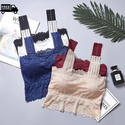 Pack of Women's Floral Lace Stretchy Tank Top Bra