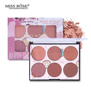 Miss Rose Blush Glow Kit Powder Blusher Palette 6 Color Makeup
