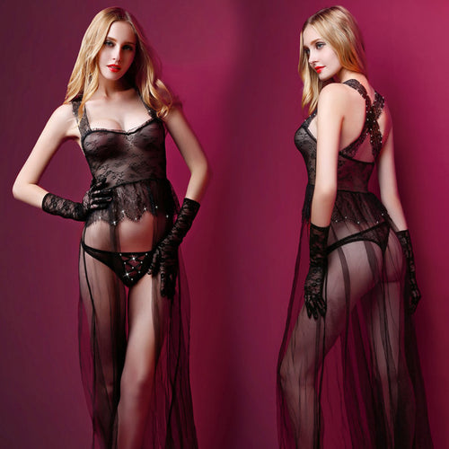 3 Piece Long Transparent Lingerie With Panty