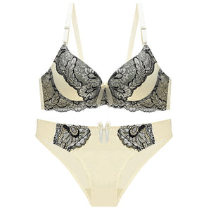 Women Underwire Push Up Floral Lingerie Bra Set