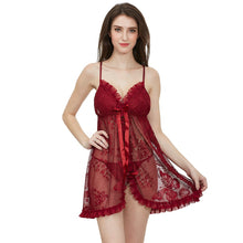Load image into Gallery viewer, Ruffle Lace Design See through Floral Mesh Short Nighty