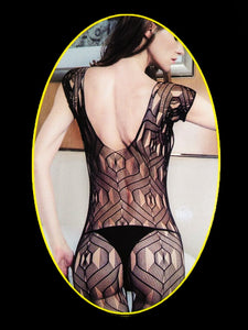 Women's Strappy Rose Stretchy Bodystocking Black