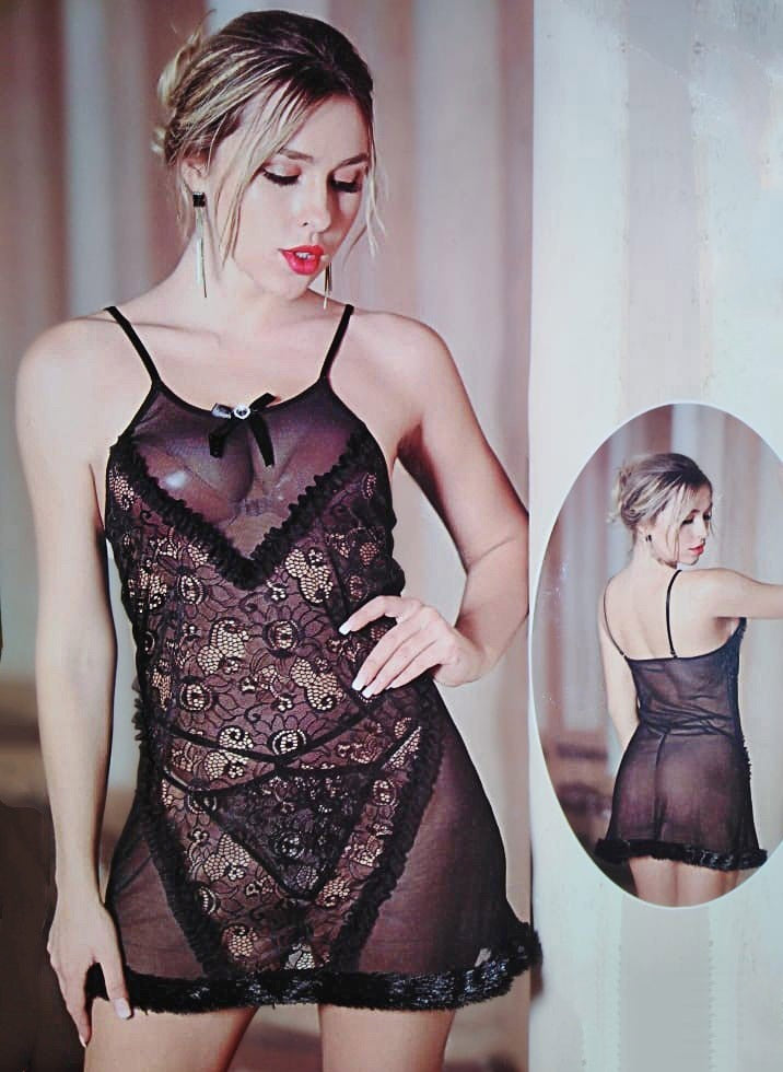 Transparent See Through Mesh Nightie for Ladies