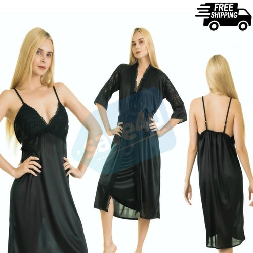 Silk Gown & Camisole Two Piece Nighty for Women's