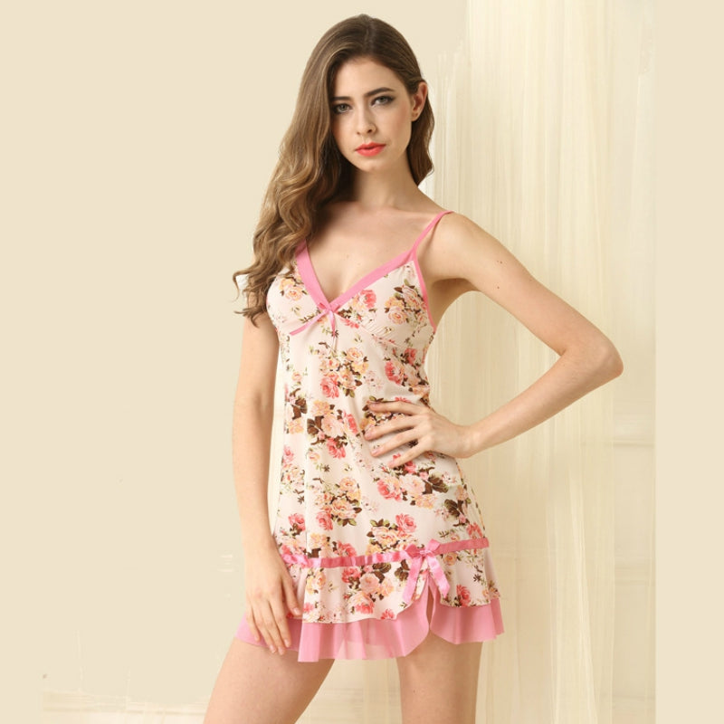 Short Length Printed Women Nightdress With Panty