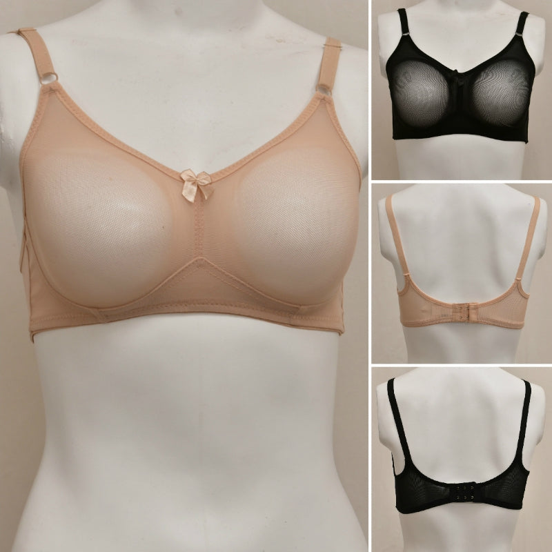 Pack of 2 Women's Transparent Sheer Mesh Bra