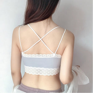 Pack of French Lace Non Wired Crop Top Bra