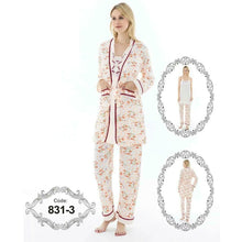 Load image into Gallery viewer, 3 Piece Set Women's Long Sleeve Nightwear Pajama set