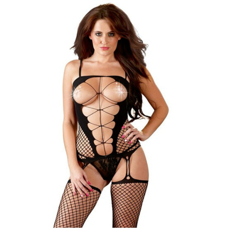 Women Fishnet Halter Hot Mesh Mini Dress Body Stocking