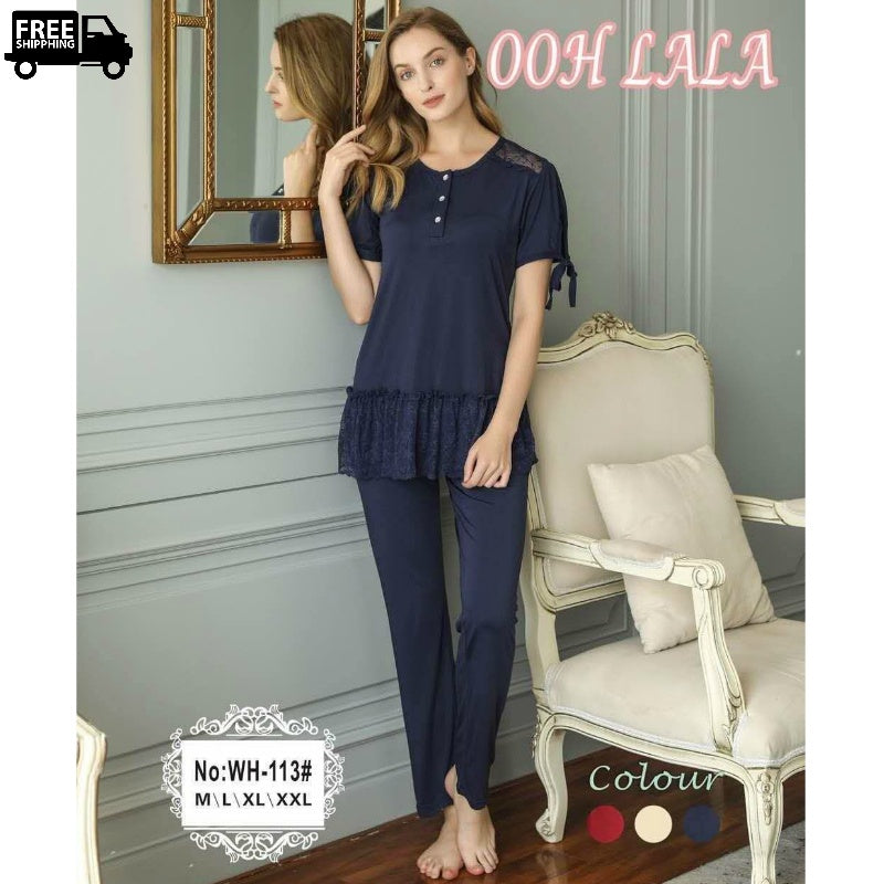 Short Sleeves Nightdress Comfortable Pj's For Women