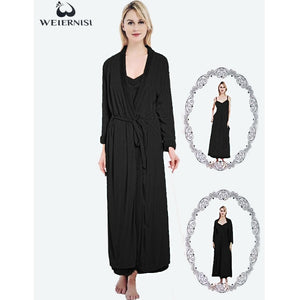 Women's Winters Fleece Warm Solid Bathrobe