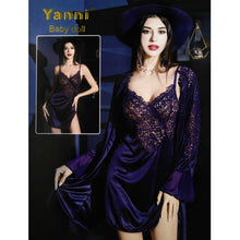 Load image into Gallery viewer, Satin Chemise Nightgown and Robe Sets Lingerie