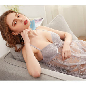 See Through Floral Design Soft Net Short Nighty