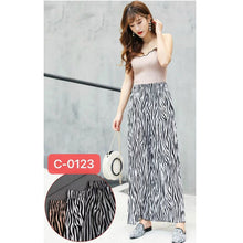 Load image into Gallery viewer, Zebra Print Elatic Waist Wide Leg Pleated Trouser