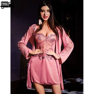 Kimono Robe & Mesh Nightgown with Pantie