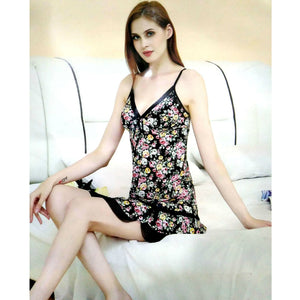 Floral Print Summer Nightwear With Panty For Women