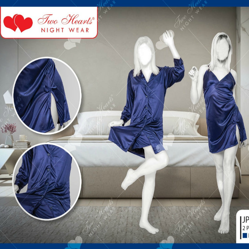 Two Piece Women's Satin Silk Nightdress Sleepwear Lounge wear For Ladies