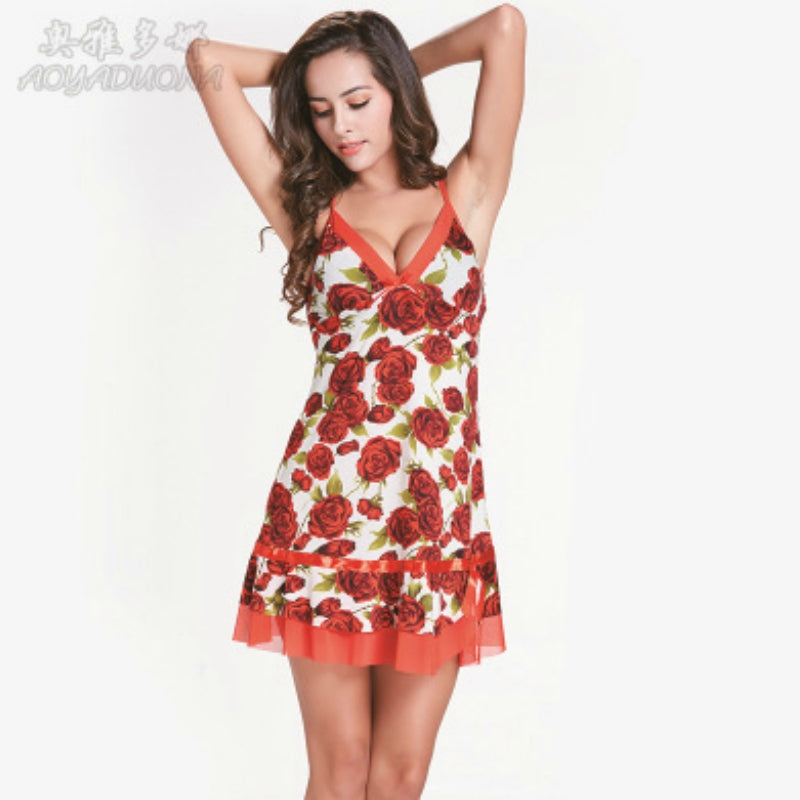 Rose Print Soft Nightwear/Nightdress for ladies