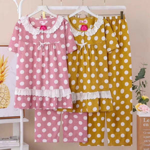 Short Sleeves Breathable Polka Pajama Set