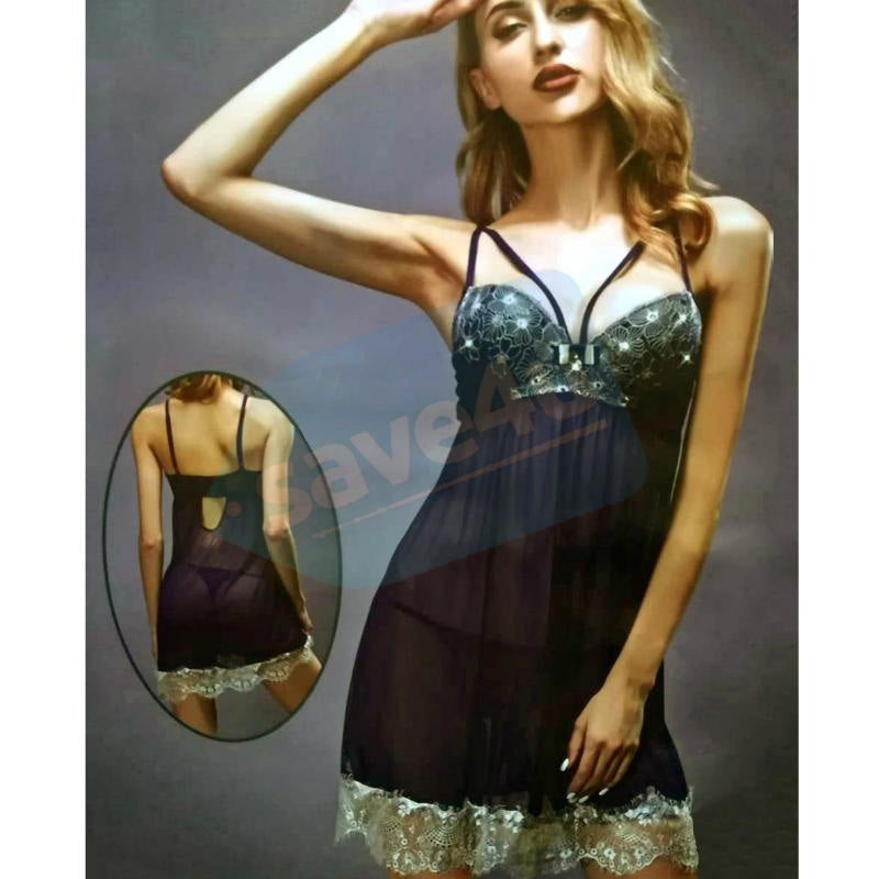 Women Backless Lace Nighty V-Neck Nightdress