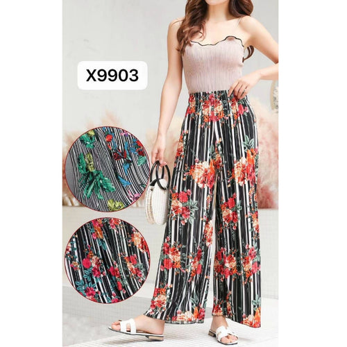 Floral Long Culottes Trousers Wide Fashion