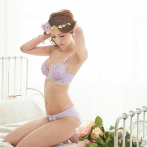 Super Cute Bra Set Floral Bra with Brief Panty
