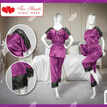 Load image into Gallery viewer, Two Piece Satin Silk Sexy Pajama Set For Ladies