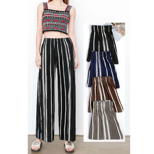 High Waist Wide Leg Chiffon Pleated Pants