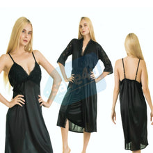 Load image into Gallery viewer, Silk Gown & Camisole Two Piece Nighty for Women's