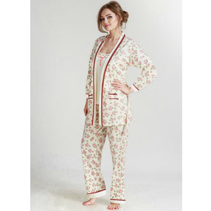 3 Piece Set Women's Long Sleeve Nightwear Pajama set