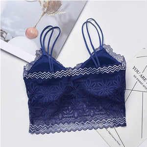 Pack of Removable Pads Lace Floral Bralette Vest Tank