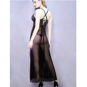 Sheer Mesh Push up Long Lingerie With Panty