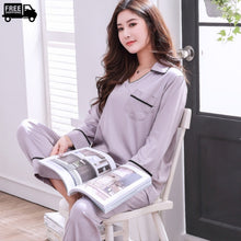 Load image into Gallery viewer, Seamless Notch Collar Satin Pajama Set